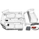 Kit moquette cabriolet 20 pièces grise 56-68