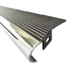 Set de 2 marchepieds aluminium noir brillant, stries polies avec bord poli