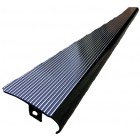 Set de 2 marchepieds aluminium noir brillant, stries polies avec bord noir