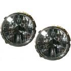 Set de 2 phares H4 « look mirror fumé avec croix » pour ampoule à culot H4