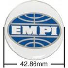 Set de 4 autocollants de caches-moyeux EMPI bleu/blanc (diamètre 43mm)
