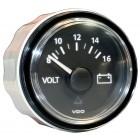 Voltmètre 8-16 volts fond noir