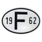 """Plaque """"F"""" millésime 1962"""