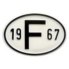 """Plaque """"F"""" millésime 1967"""