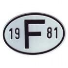 """Plaque """"F"""" millésime 1981"""