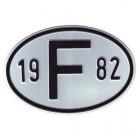 """Plaque """"F"""" millésime 1982"""
