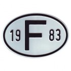 """Plaque """"F"""" millésime 1983"""