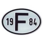 """Plaque """"F"""" millésime 1984"""