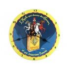 Pendule sur plaque émaillée bombée 25cm YACCO CHEVAUX