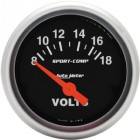 Voltmètre «SPORT COMP» diamètre 52mm  8-18 volts
